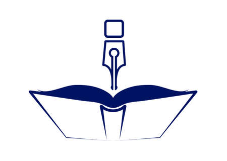 icon a feather over the book on a white background Vector