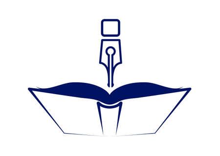 Symbol eine Feder über dem Buch auf einem weißen Hintergrund Vektorgrafik