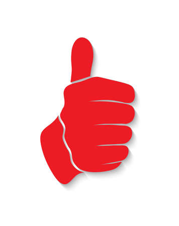 hand showing thumbs up: outline of the hand showing thumbs up sign on a white background