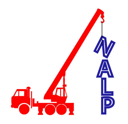 engeneering: Crane builds a word from letters plan Illustration