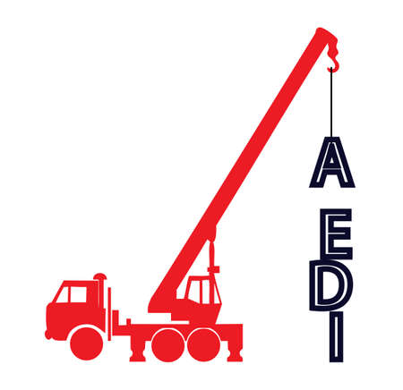 Crane builds a word from letters idea Vector