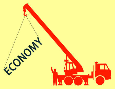 The crane hoists the word economy Vector