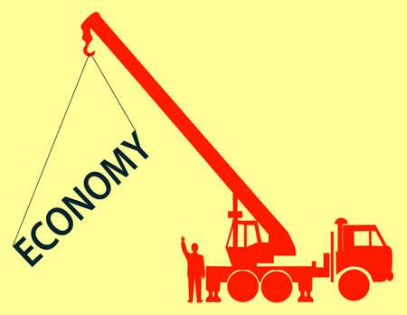 hoists: The crane hoists the word economy