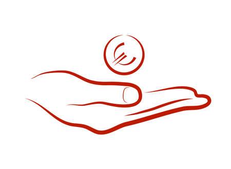 limosna: moneda arrojada a un lado Vectores