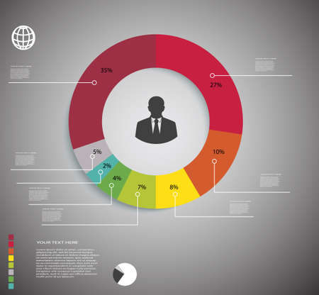 circular graph the percentage for presentations Illustration