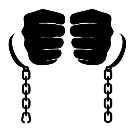 prison break: broken-off chain on hands