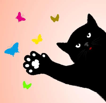 puss: cat catches butterflies