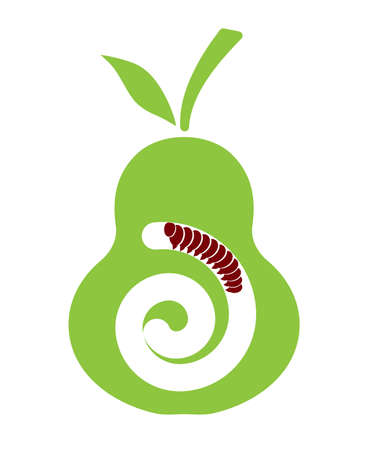 fruit worm: fruit a pear with a worm
