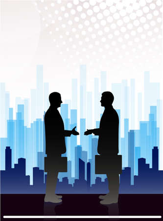 megalopolis: meeting of business people on an abstract background of the megalopolis Illustration