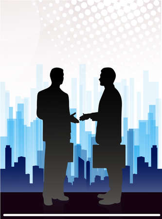 abstract city: meeting of business people on an abstract background of the megalopolis Illustration