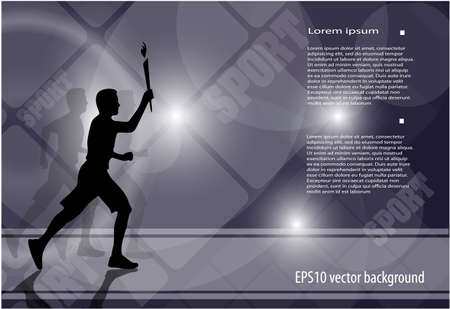 person running with a torch on an abstract background Vector