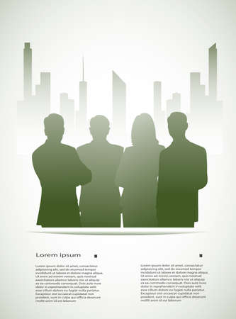 construction firm: silhouette of businessmen on an abstract background of the city