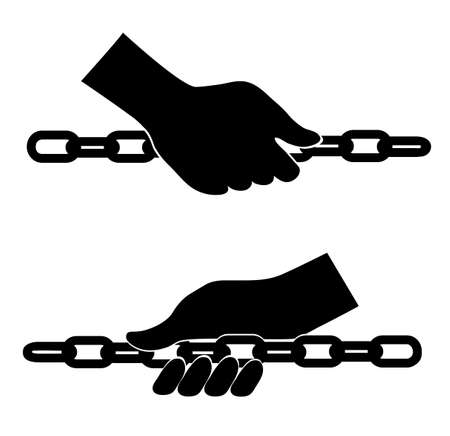 hand chain: hand holds a chain