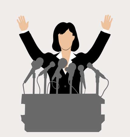 Politikerin vor einem Mikrofon