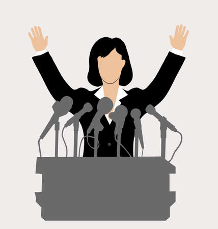 politician: woman politician in front of a microphone Illustration