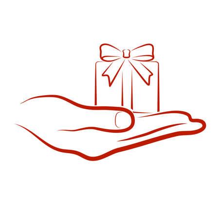 brings: mano porta un regalo