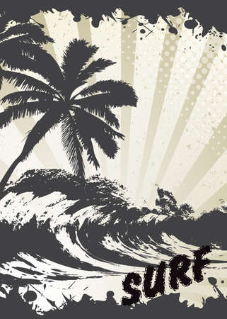 surf board: background of a sea surf in style grunge