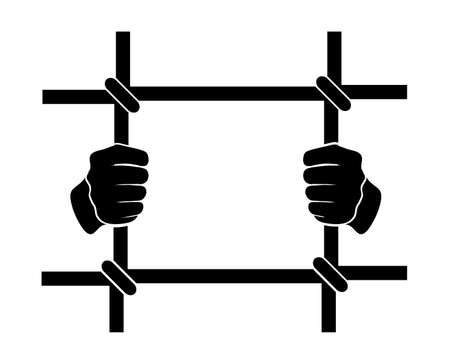 icon human hands  behind bars Illustration