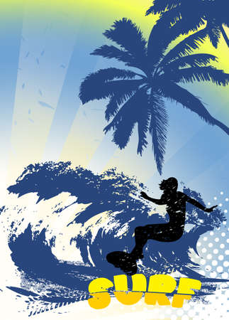 surfer silhouette: surfer silhouette on grunge background