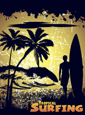 silhouette of a surfer on a tropical beach in grunge style Vector