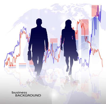 economic development: silhouette of a businessman in the background graphics economic development