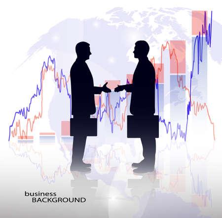 graphisme fond: silhouette d'un homme d'affaires dans le d�veloppement �conomique de graphiques de fond Illustration
