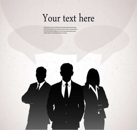 silhouette of businessmen with a bubble for the text Vector