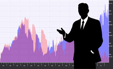 economic development: silhouette of a businessman in the background graphics economic development