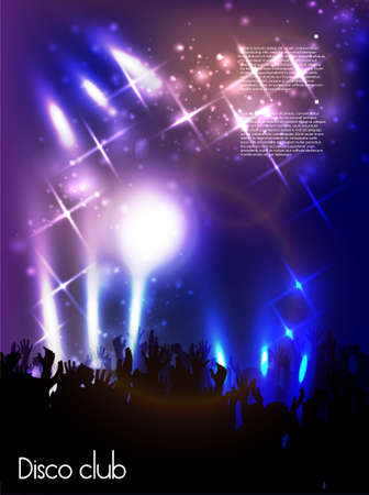 festival crowd: Evening in night club  vector background
