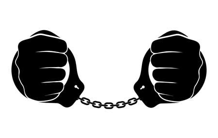 bondage: human hands in handcuffs