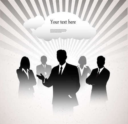 represents: silhouettes of businessmen on a graphic abstract background