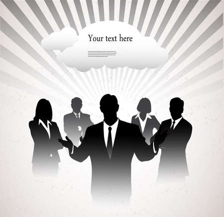 specifies: silhouettes of businessmen on a graphic abstract background