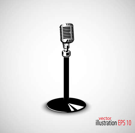 live music: old microphone on gray seamless background Illustration
