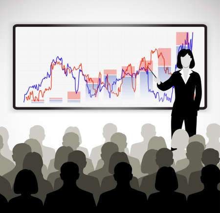 conference audience: silhouette of a businessman holding training Illustration