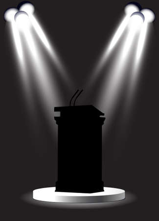 debate: tribune under spotlights Illustration