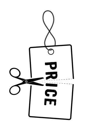 slash: price tag in half on a white background Illustration