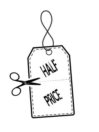 slash: price tag in half on a white background Illustration