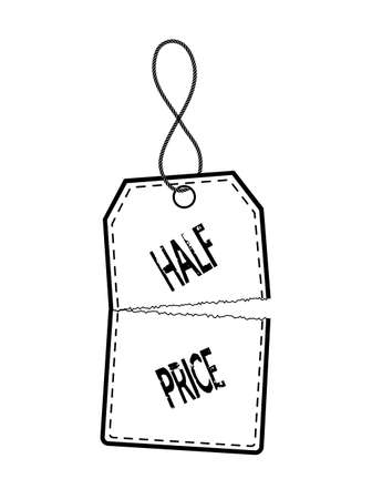 cut price: price tag in half on a white background Illustration