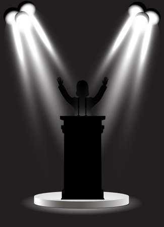 man on the podium under floodlights Vektorové ilustrace