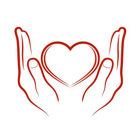 hands bestowing heart Vector