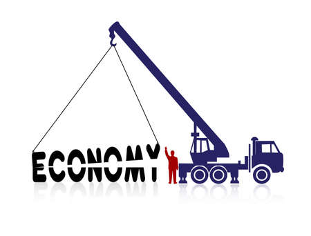 crane sets the word economy Vector