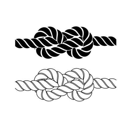 白い背景の上ロープの結び目