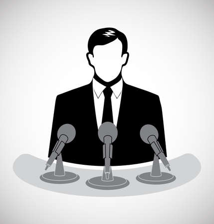 male journalist before a microphone Stock Vector - 27240690
