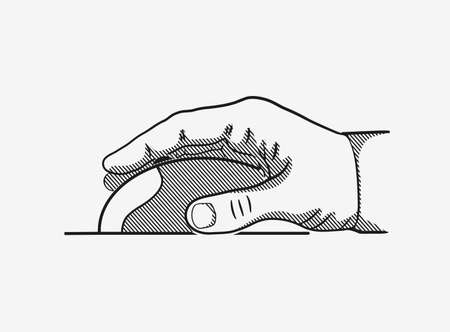 scroll wheel: hand with mouse Illustration