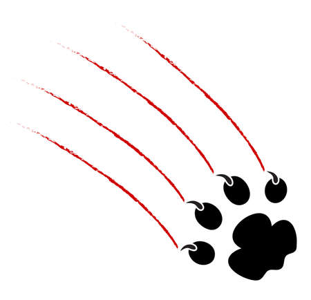 trace of claws of a predator on a white background Vector