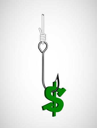 Dollar symbol on the hook