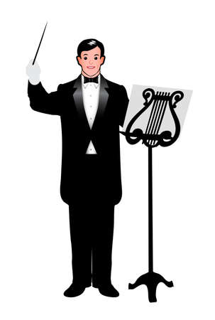Managing orchestra conductor Vector