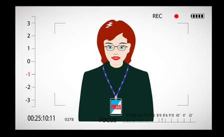 journalist in the video camera view-finder Vector