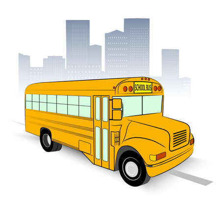 school bus on city background Vector