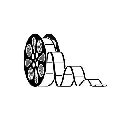 cinta de pelicula: icono del carrete con una película